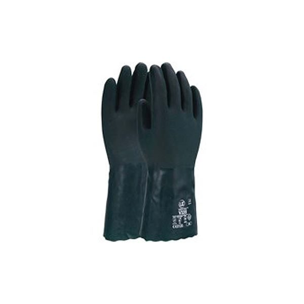 """Green PVC 14"""" Double Dipped Gauntlets, V335, Size 10"""