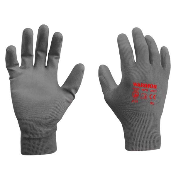 Warrior Grey PU Coated Gloves, Size 6 - 11, per pair