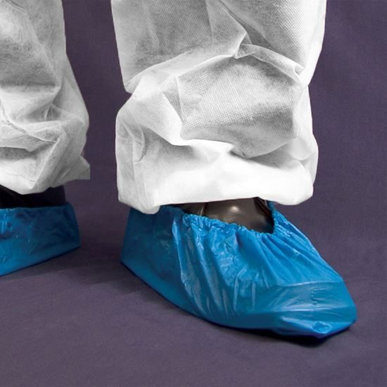 """Shield CPE Overshoes 16"""" blue - Hand Stitched, 100 per pack"""