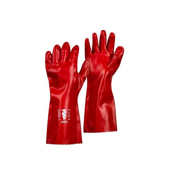 Warrior Red PVC Gloves, 40cm Long, Size 10, Pack of 6 Pairs