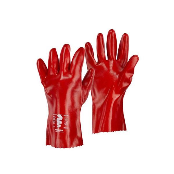 Warrior Red PVC Gloves, 27cm Long, Size 10, Pack of 12 Pairs