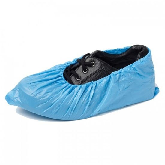 """Polythene Overshoes, 16"""" Blue MS per 100"""