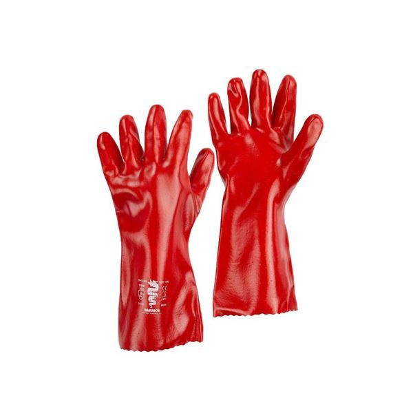 Warrior Red PVC Gauntlets, 35cm, Size 10, Pack of 6 Pairs