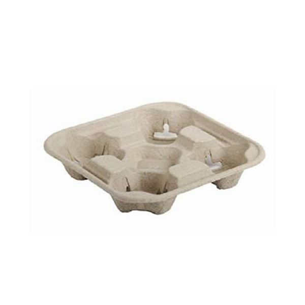 Moulded Pulp Fibre 4 Cup Carriers are biodegradable, compostable and recyclable.
