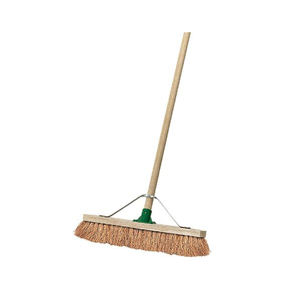 """18"""" Wooden Broom Soft Coco Stayed Handle Complete"""