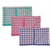 Tea Towel Cotton Check Assorted Colours Pack of 10