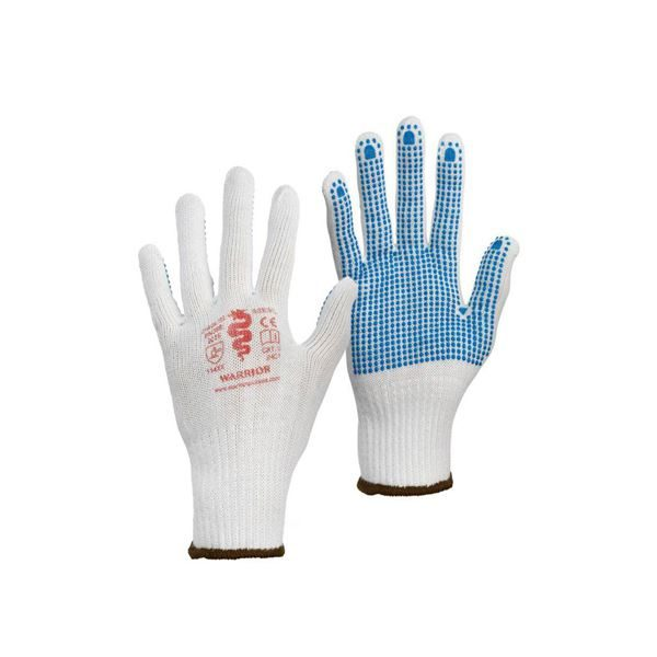 Warrior Palm Dotted Knitted Gloves, Sizes 9 -10 -12 Pairs per pack