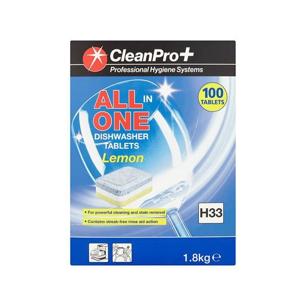 CleanPro+ Lemon All In One Dishwasher Tablets (100)