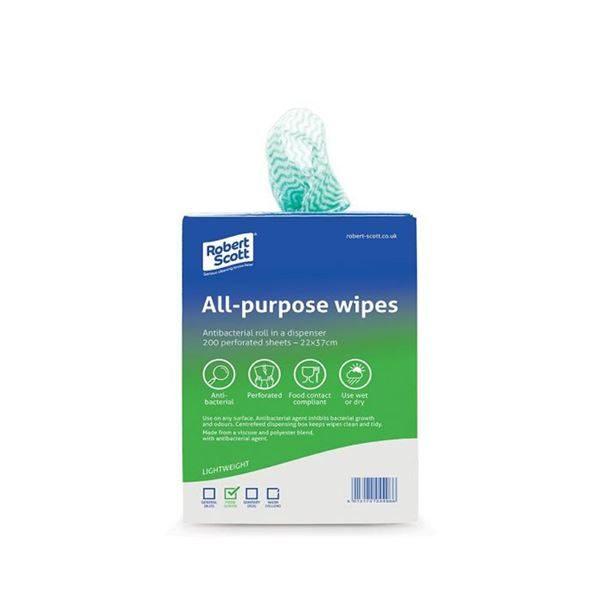 All Purpose Green Anti Bac Cloth Roll Dispenser - Pack of 200