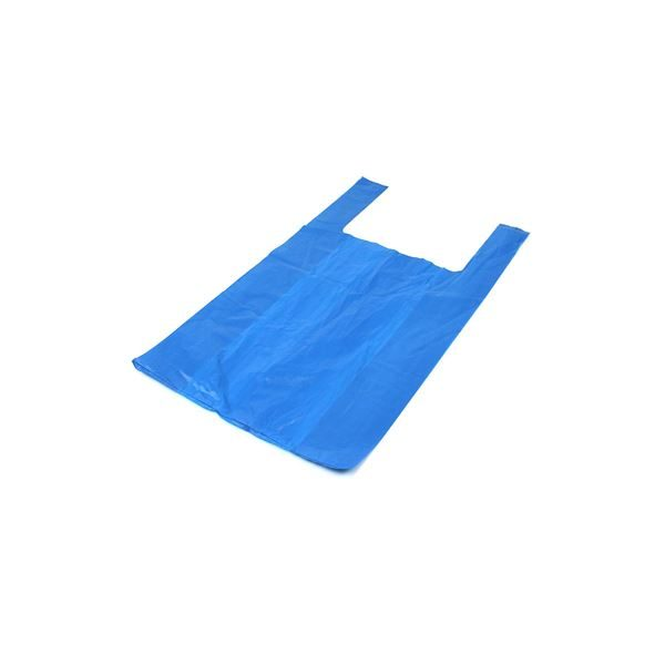 Blue Recycled Vest Carriers BR2, 16mu per 1000