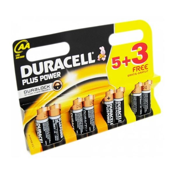 MIS500 Duracell AA Plus Power Batteries Pack of 5 + 3 free