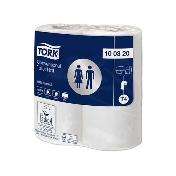 Tork Recycled 2Ply 320 Sheet Toilet Rolls, 100320, 36 rolls