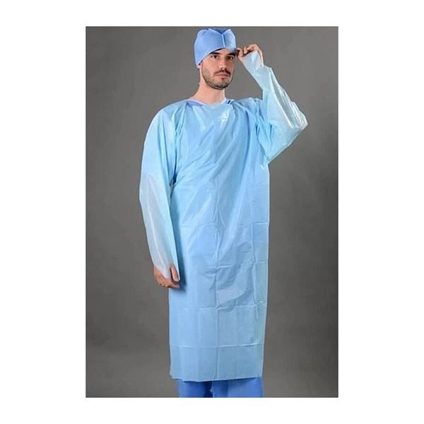 CPE Fluid Resistant Isolation Gowns, Blue per 200