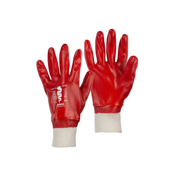 Warrior Red PVC Gloves, K/W, Sizes 9 - 10, Pack of 12 Pairs