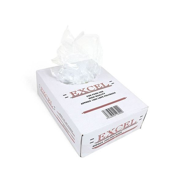 """Excel Poly Food Bags, Clear, 22mu, 12 x 15"""" per 1000"""