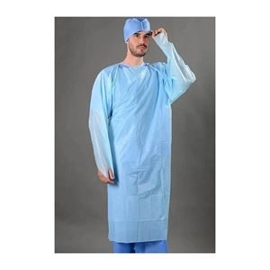 CPE Fluid Resistant Isolation Gowns, Blue, Pack of 10