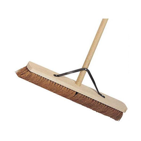 """24"""" Wooden Broom Soft Coco Complete Stayed Handle"""